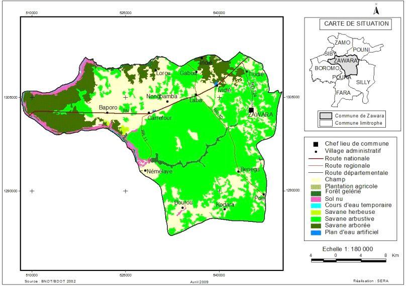 Comune di Zawara - mappa utilizzo del suolo
