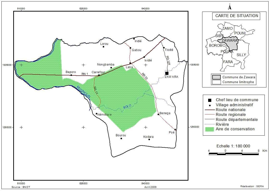 Mappa dei villaggi del comune di Zawara