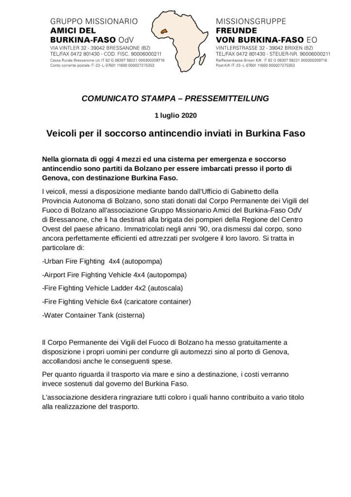 comunicato stampa 1 luglio 2020