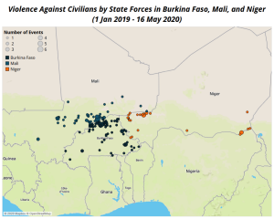 violence against civilians Sahel 2020-map1